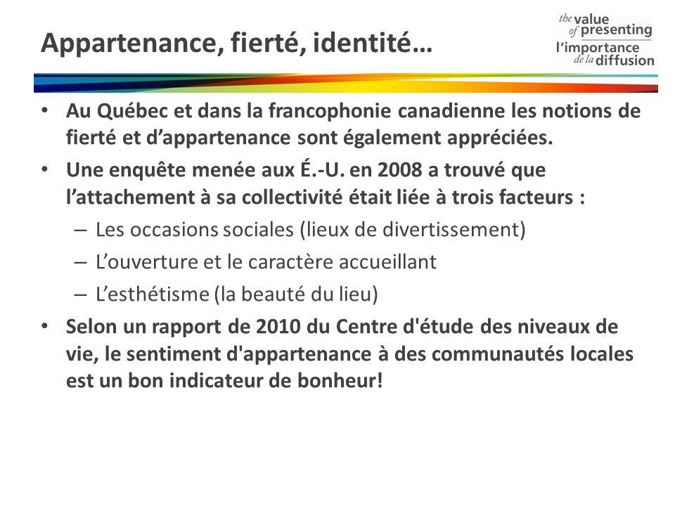 Appartenance, fierté, identité… Au Québec et dans la francophonie canadienne les notions de fierté et dappartenance sont également appréciées. Une enq