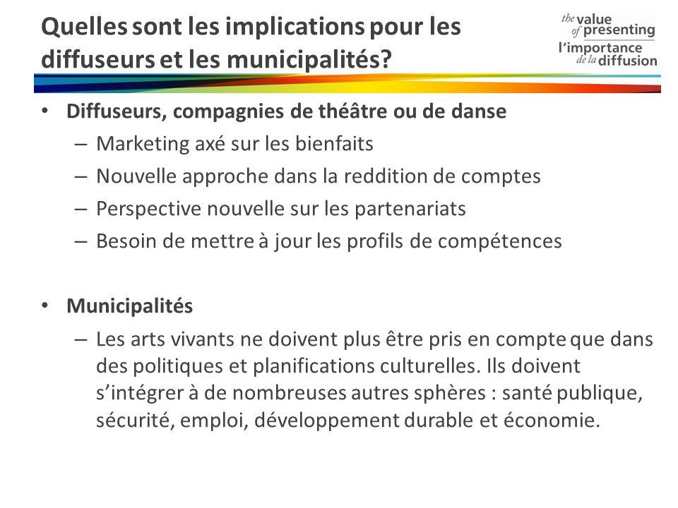 Quelles sont les implications pour les diffuseurs et les municipalités? Diffuseurs, compagnies de théâtre ou de danse – Marketing axé sur les bienfait