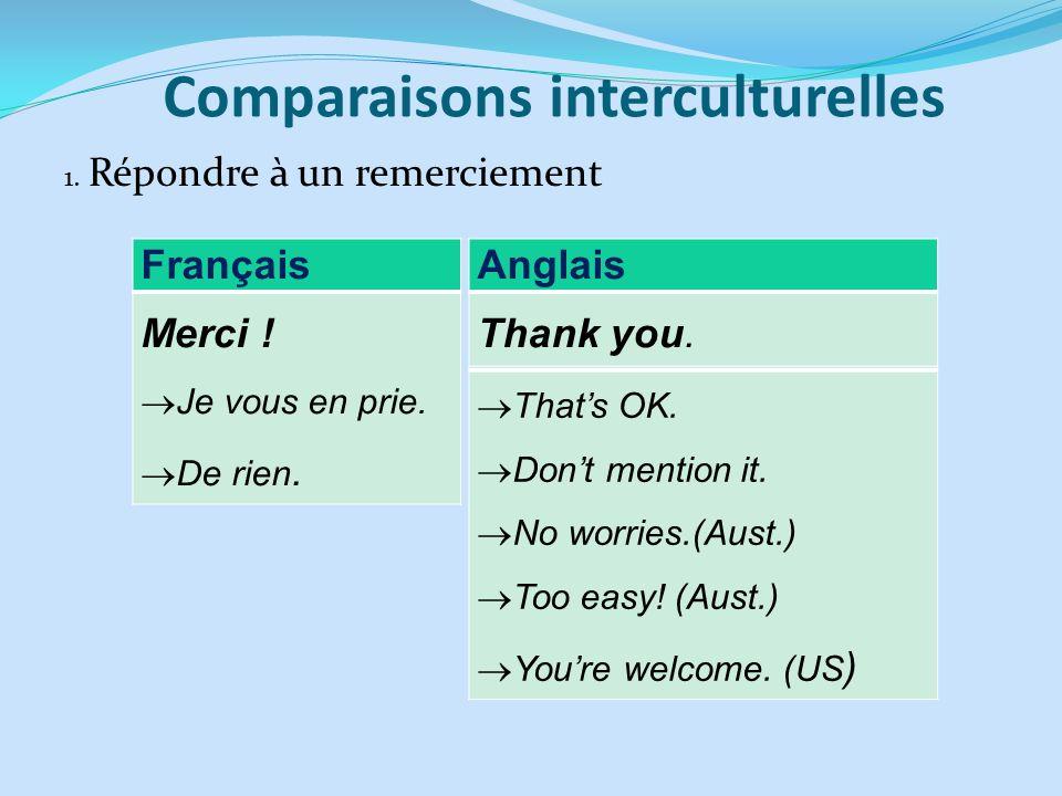 Comparaisons interculturelles 1. Répondre à un remerciement Français Merci ! Je vous en prie. De rien. Anglais Thank you. Thats OK. Dont mention it. N