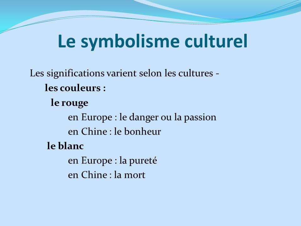 Le symbolisme culturel Les significations varient selon les cultures - les couleurs : le rouge en Europe : le danger ou la passion en Chine : le bonhe