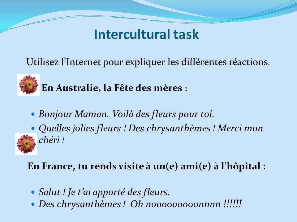 Intercultural task Utilisez lInternet pour expliquer les différentes réactions. En Australie, la Fête des mères : Bonjour Maman. Voilà des fleurs pour