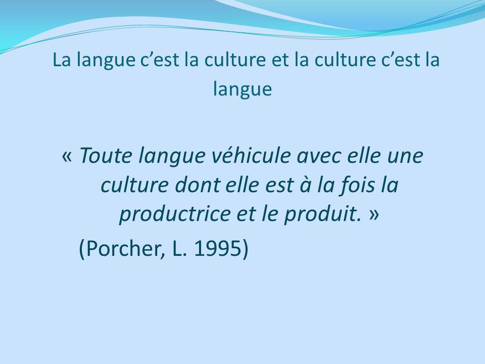 La langue cest la culture et la culture cest la langue « Toute langue véhicule avec elle une culture dont elle est à la fois la productrice et le prod