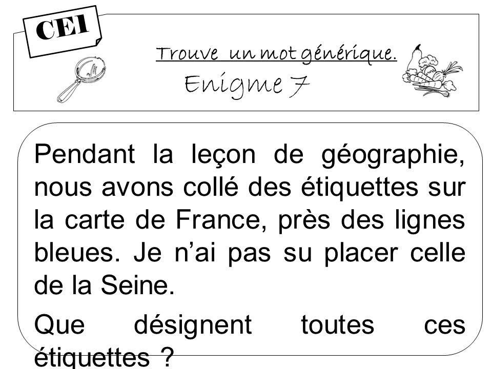 Trouve un mot générique. Enigme 7 Pendant la leçon de géographie, nous avons collé des étiquettes sur la carte de France, près des lignes bleues. Je n