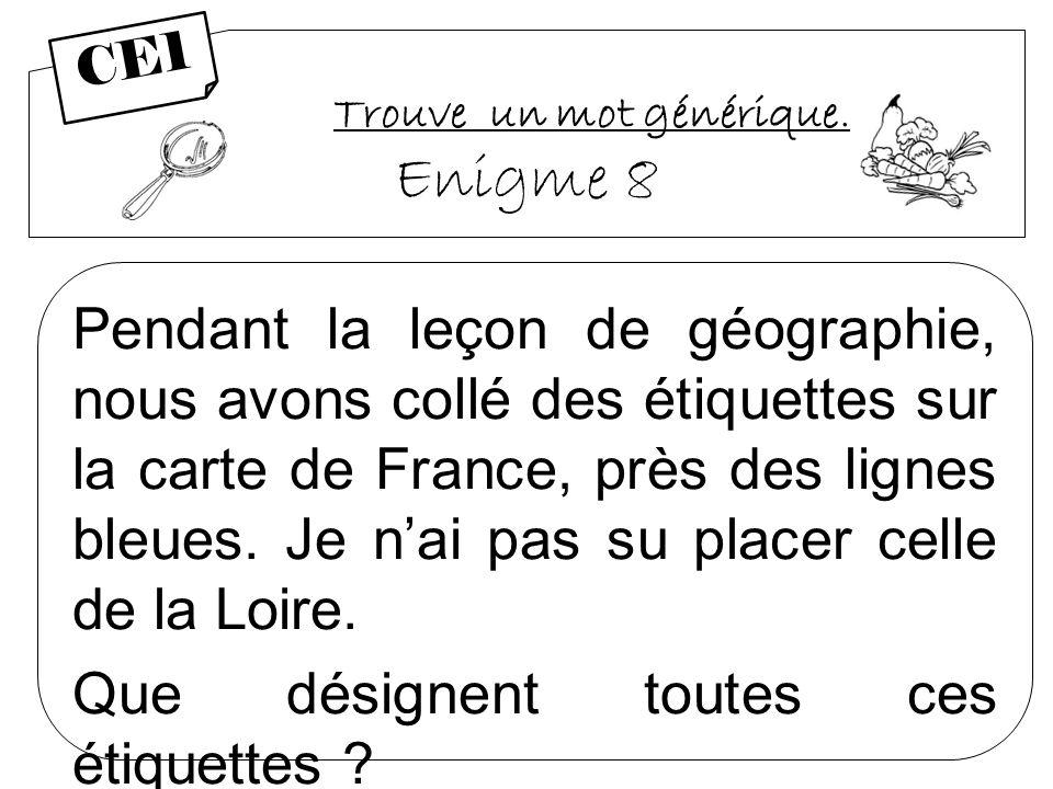 Trouve un mot générique. Enigme 8 Pendant la leçon de géographie, nous avons collé des étiquettes sur la carte de France, près des lignes bleues. Je n