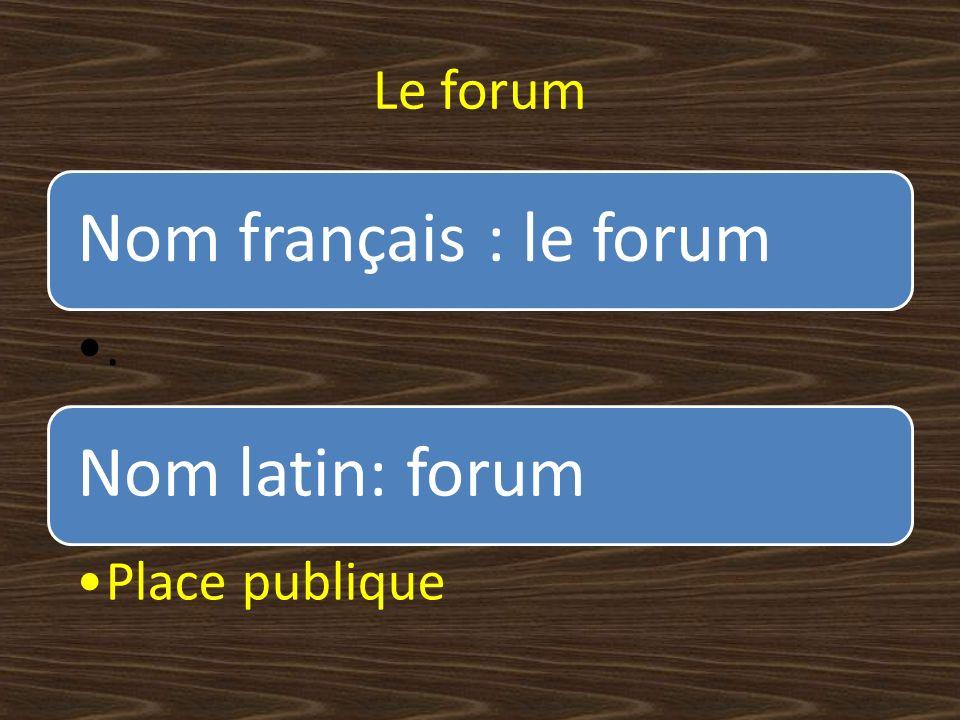 Le forum Nom français : le forum. Nom latin: forum Place publique
