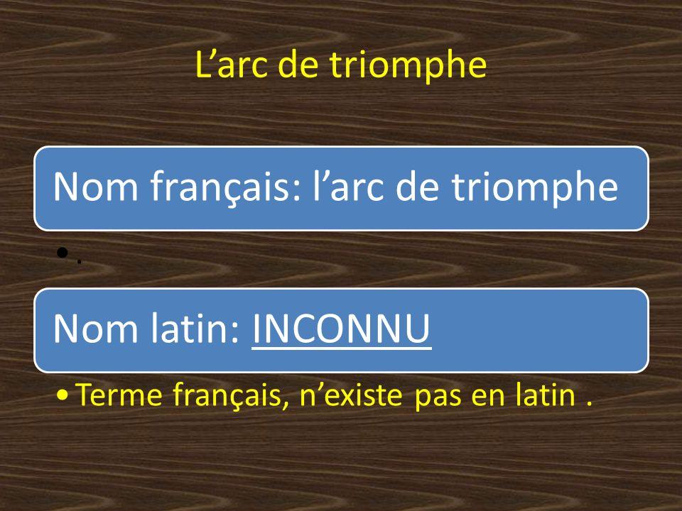 Larc de triomphe Nom français: larc de triomphe.