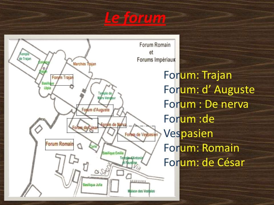 Le forum Forum: Trajan Forum: d Auguste Forum : De nerva Forum :de Vespasien Forum: Romain Forum: de César