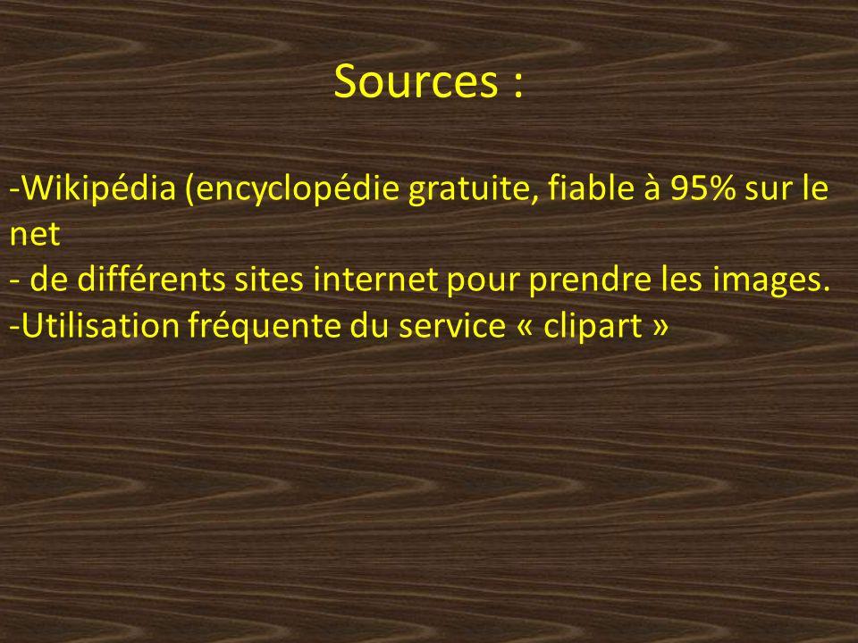 Sources : -Wikipédia (encyclopédie gratuite, fiable à 95% sur le net - de différents sites internet pour prendre les images.
