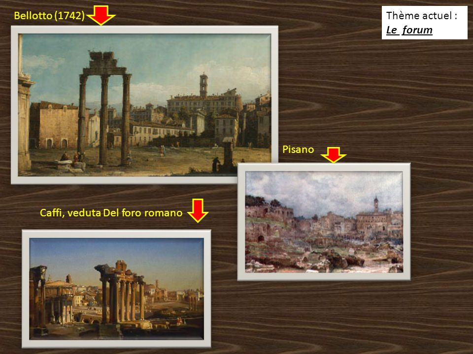 Thème actuel : Le forum Bellotto (1742) Pisano Caffi, veduta Del foro romano