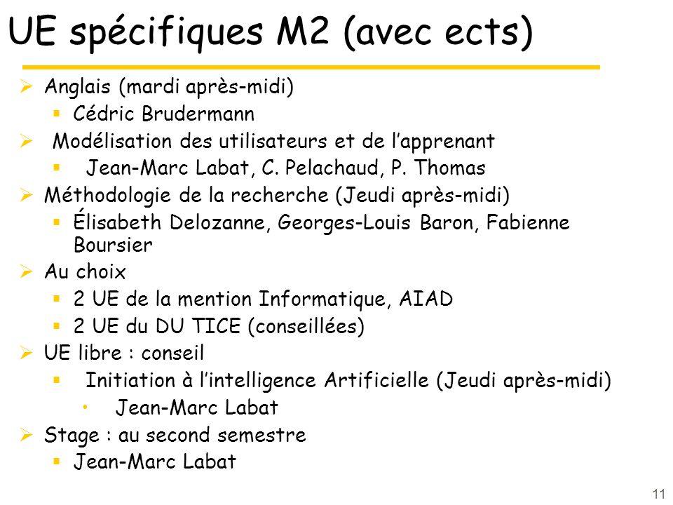 UE spécifiques M2 (avec ects) Anglais (mardi après-midi) Cédric Brudermann Modélisation des utilisateurs et de lapprenant Jean-Marc Labat, C. Pelachau