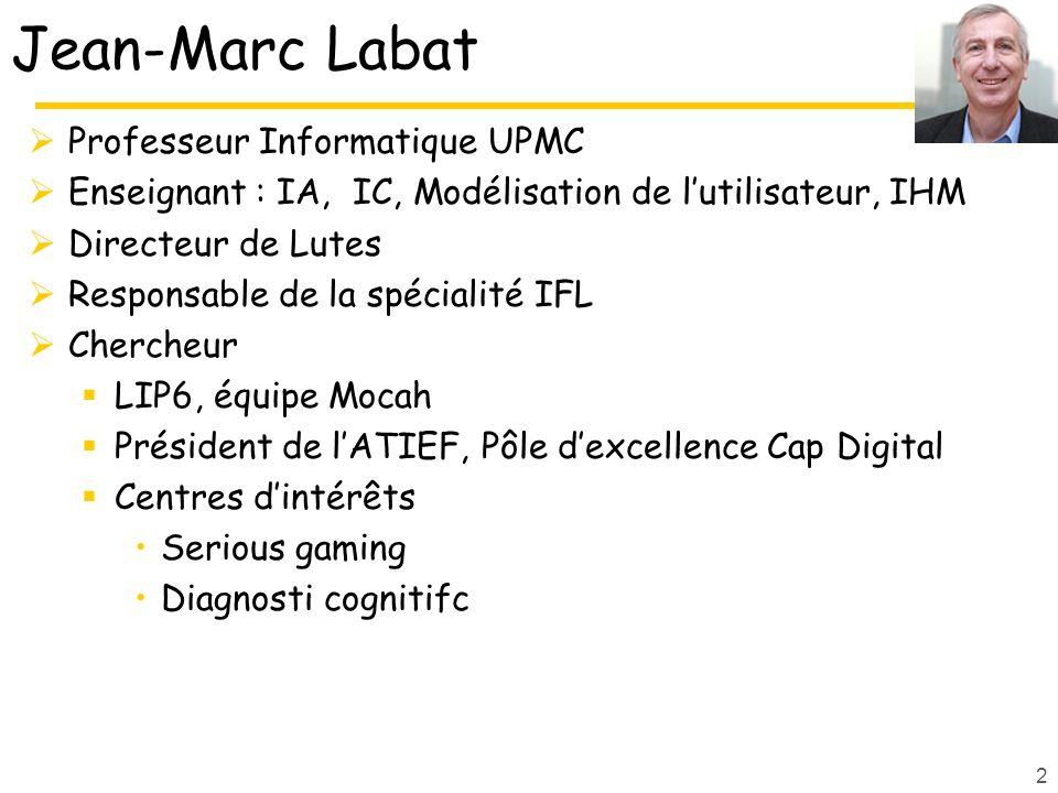 Jean-Marc Labat Professeur Informatique UPMC Enseignant : IA, IC, Modélisation de lutilisateur, IHM Directeur de Lutes Responsable de la spécialité IF