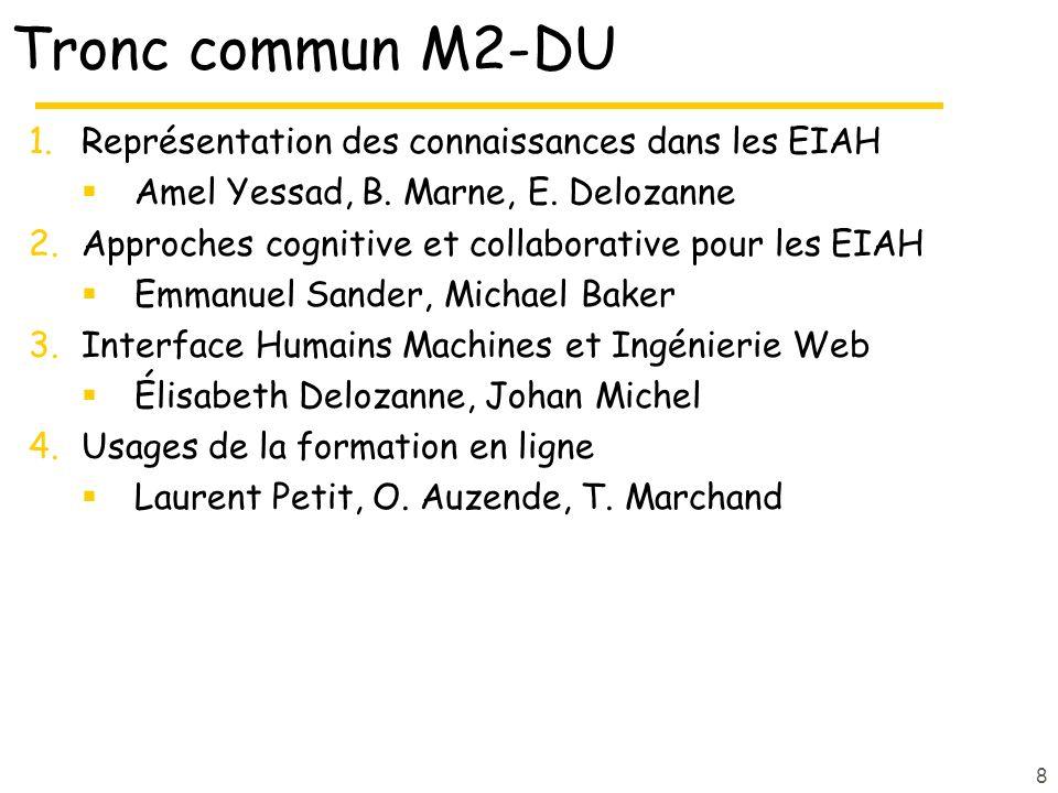 Tronc commun M2-DU 1.Représentation des connaissances dans les EIAH Amel Yessad, B. Marne, E. Delozanne 2.Approches cognitive et collaborative pour le