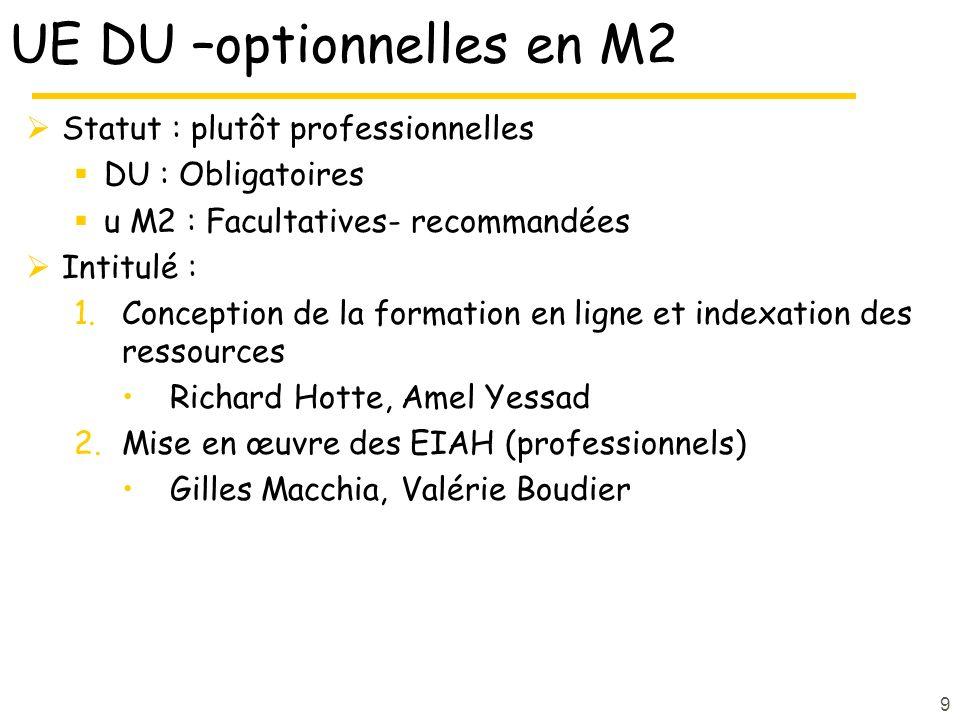 UE DU –optionnelles en M2 Statut : plutôt professionnelles DU : Obligatoires u M2 : Facultatives- recommandées Intitulé : 1.Conception de la formation