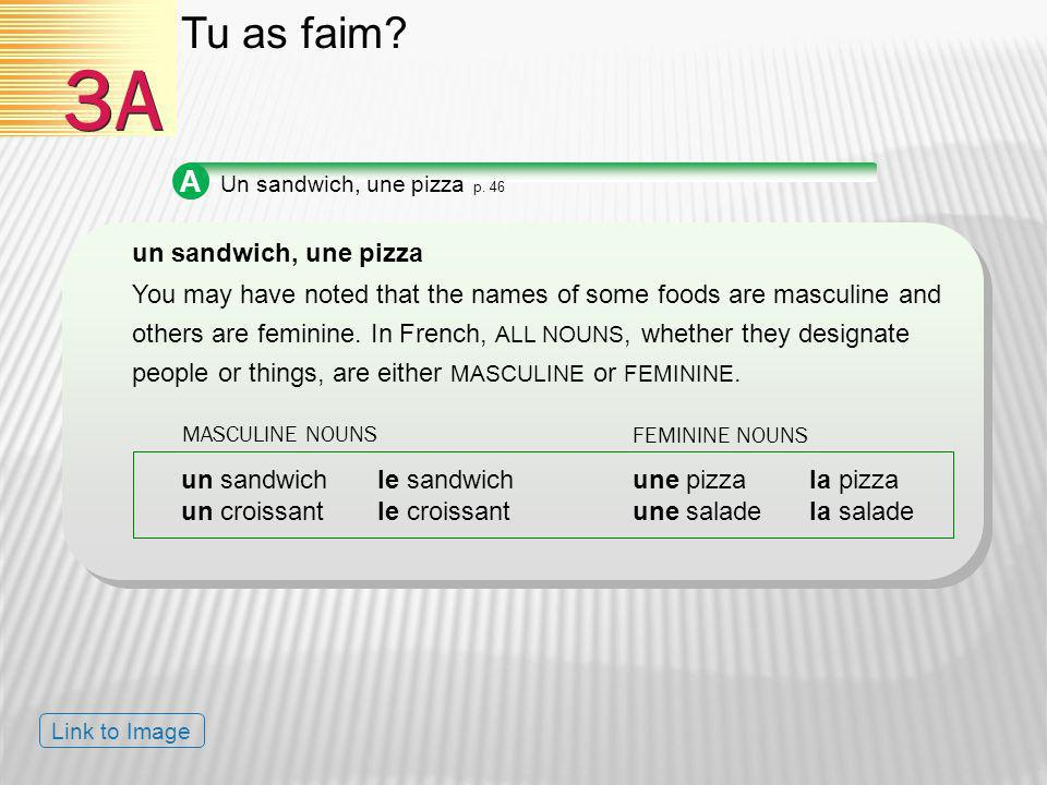 A Un sandwich, une pizza p. 46 un sandwich, une pizza You may have noted that the names of some foods are masculine and others are feminine. In French