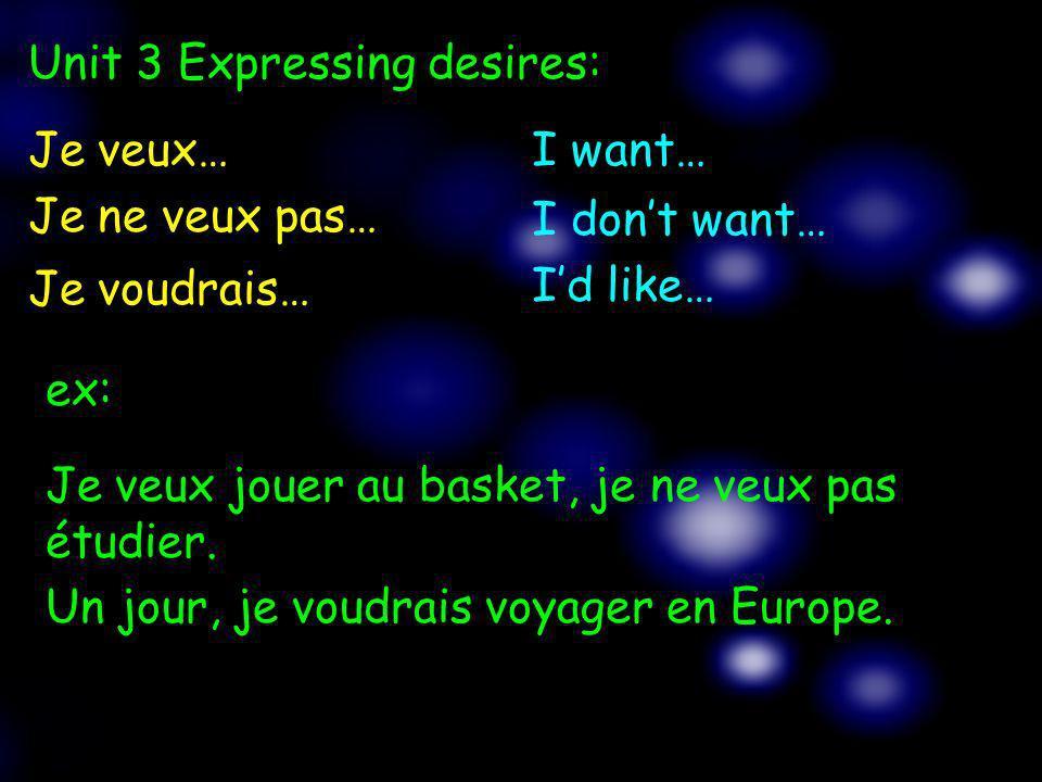 Je veux…I want… Je ne veux pas… I dont want… Unit 3 Expressing desires: Je voudrais… Id like… ex: Je veux jouer au basket, je ne veux pas étudier. Un
