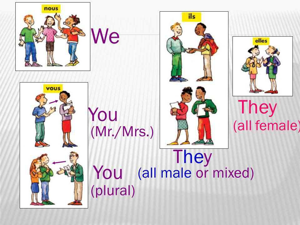 We You (Mr./Mrs.) You (plural) They (all male or mixed) They (all female)