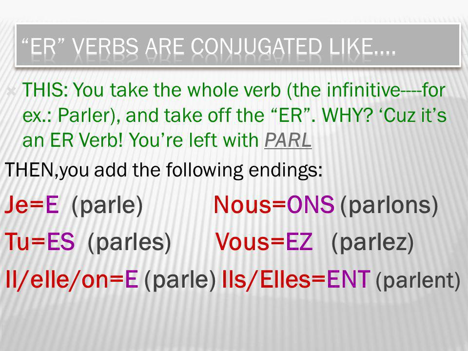THIS: You take the whole verb (the infinitive----for ex.: Parler), and take off the ER.