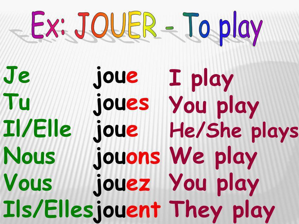 Je Tu Il/Elle Nous Vous Ils/Elles I play You play He/She plays We play You play They play joue joues joue jouons jouez jouent