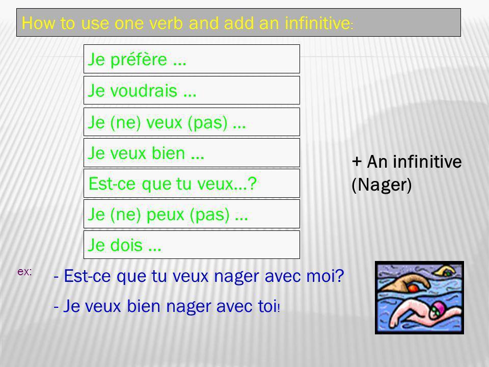 How to use one verb and add an infinitive : Je préfère … Je voudrais … Je (ne) veux (pas) … Est-ce que tu veux…? Je (ne) peux (pas) … Je dois … ex: -