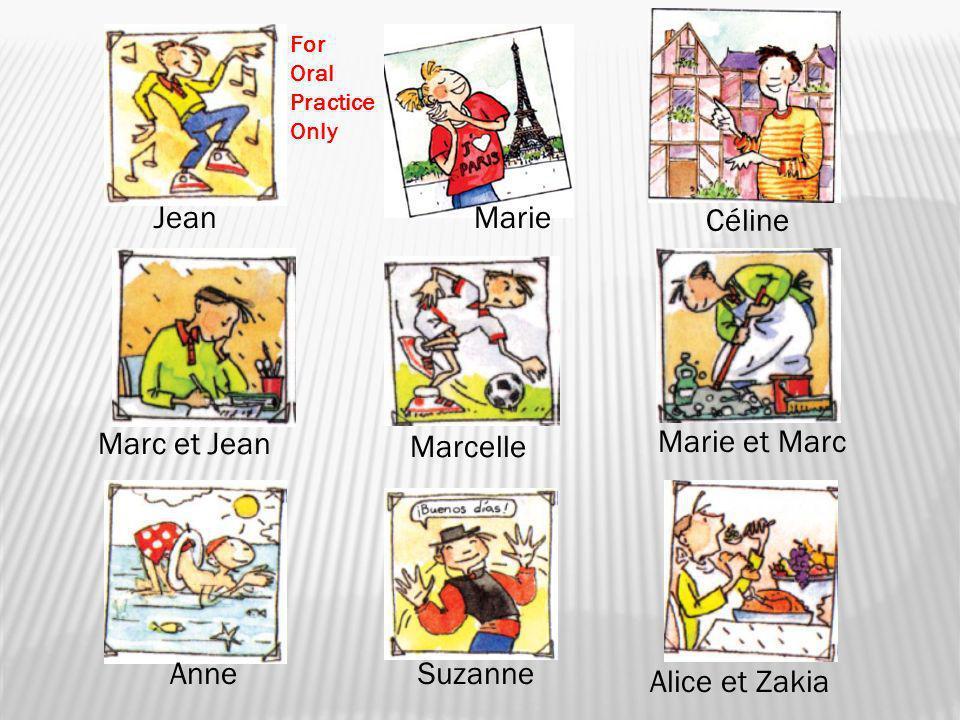 JeanMarie Céline Marc et Jean Marcelle Marie et Marc AnneSuzanne Alice et Zakia For Oral Practice Only