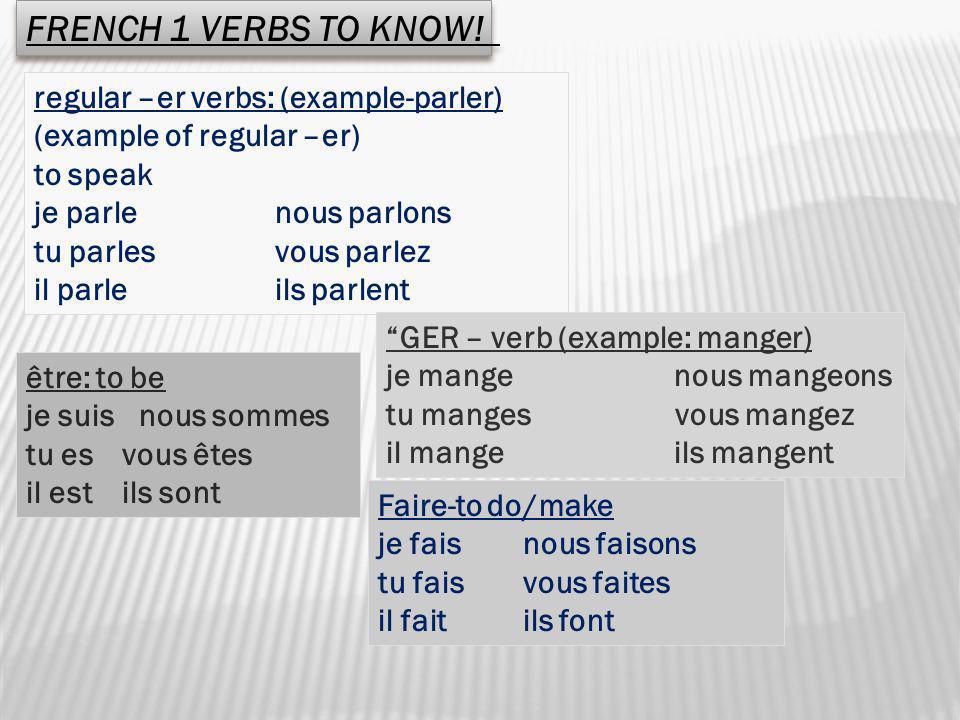 regular –er verbs: (example-parler) (example of regular –er) to speak je parle nous parlons tu parles vous parlez il parle ils parlent être: to be je
