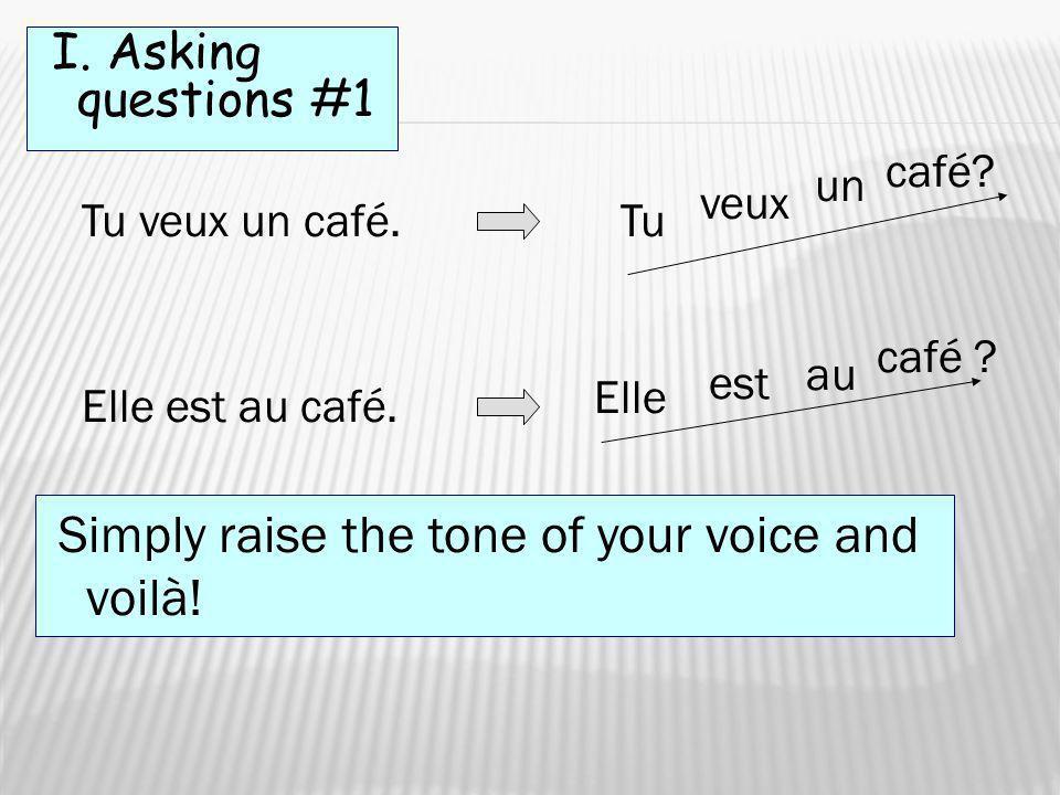 I. Asking questions #1 Tu veux un café. Tu veux café? un Elle est au café. Elle est au café ? Simply raise the tone of your voice and voilà!