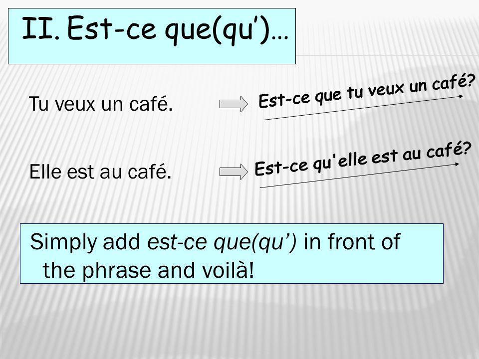 II. Est-ce que(qu)… Tu veux un café. Elle est au café. Simply add est-ce que(qu) in front of the phrase and voilà!