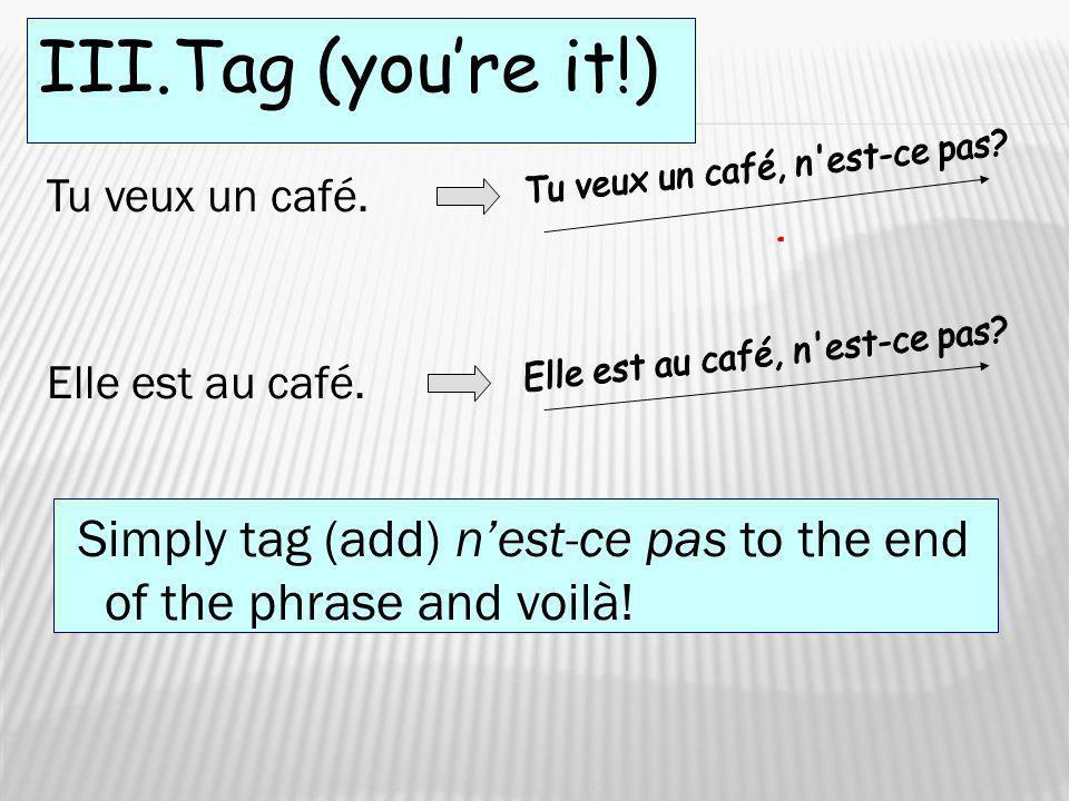 III.Tag (youre it!) Tu veux un café. Elle est au café. Simply tag (add) nest-ce pas to the end of the phrase and voilà!
