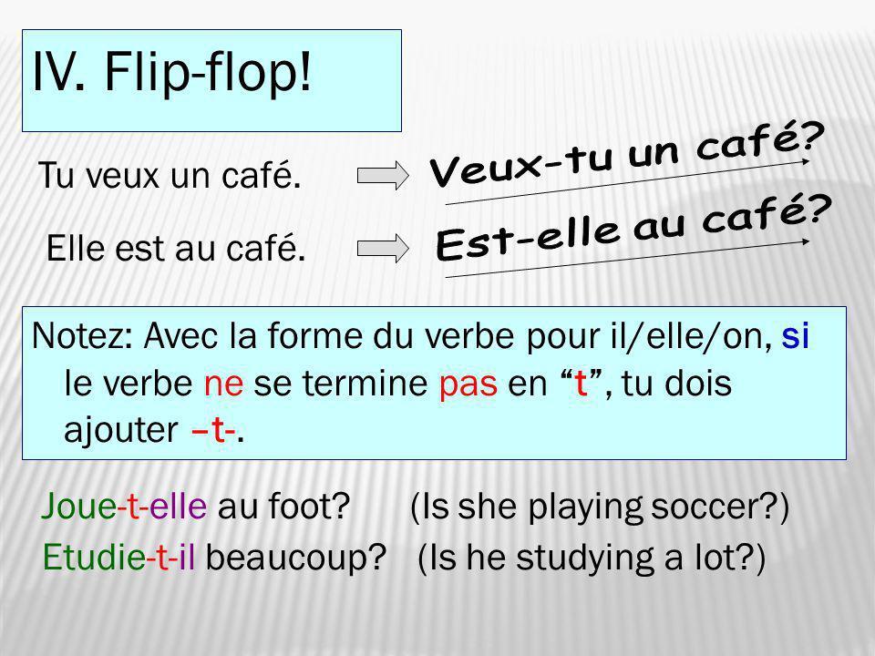 IV. Flip-flop! Tu veux un café. Elle est au café. Notez: Avec la forme du verbe pour il/elle/on, si le verbe ne se termine pas en t, tu dois ajouter –