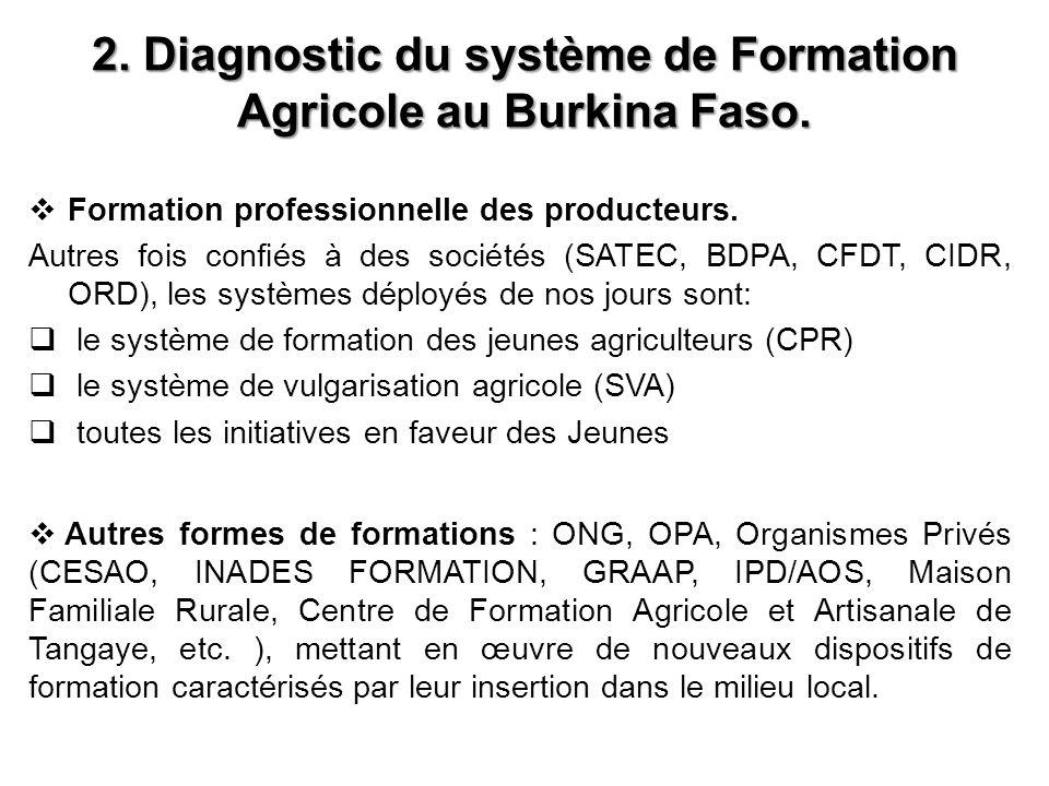 2.Diagnostic du système de Formation Agricole au Burkina Faso.