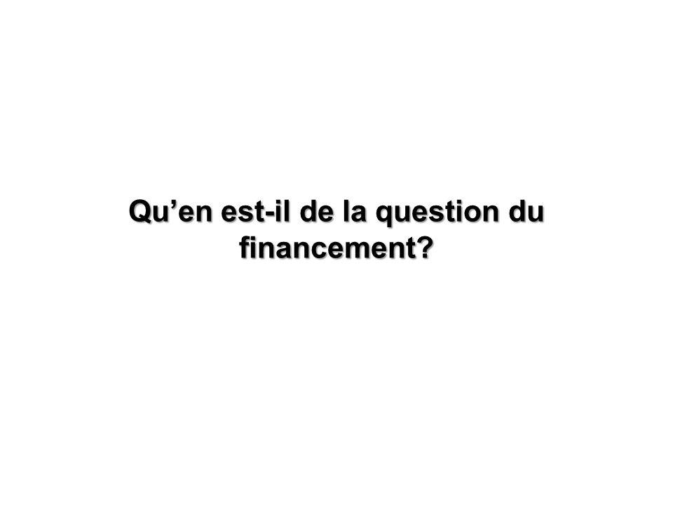 Quen est-il de la question du financement?