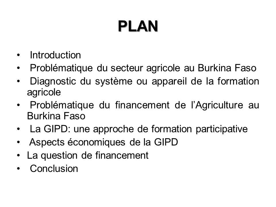 PLAN Introduction Problématique du secteur agricole au Burkina Faso Diagnostic du système ou appareil de la formation agricole Problématique du financement de lAgriculture au Burkina Faso La GIPD: une approche de formation participative Aspects économiques de la GIPD La question de financement Conclusion