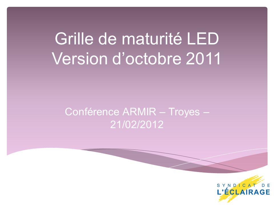 Grille de maturité LED Version doctobre 2011 Conférence ARMIR – Troyes – 21/02/2012