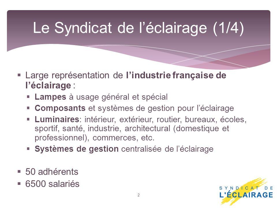 Large représentation de lindustrie française de léclairage : Lampes à usage général et spécial Composants et systèmes de gestion pour léclairage Lumin