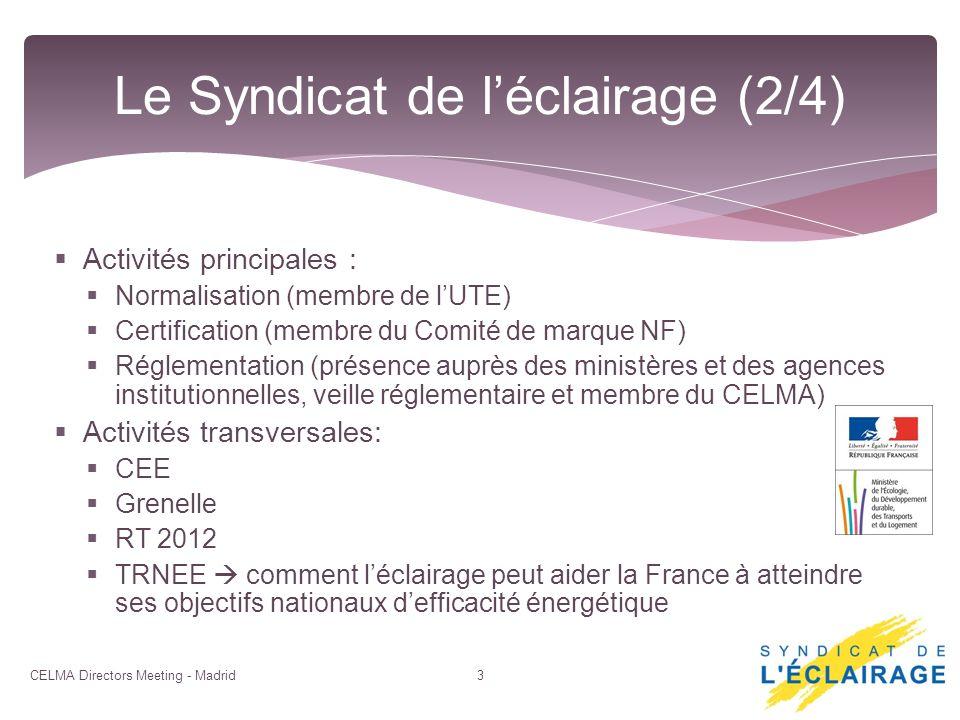 Activités principales : Normalisation (membre de lUTE) Certification (membre du Comité de marque NF) Réglementation (présence auprès des ministères et