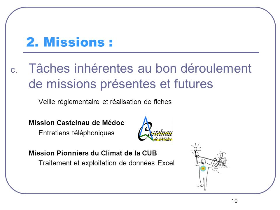 10 2. Missions : c. Tâches inhérentes au bon déroulement de missions présentes et futures Veille réglementaire et réalisation de fiches Mission Castel