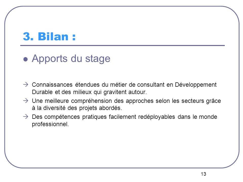 13 3. Bilan : Apports du stage Connaissances étendues du métier de consultant en Développement Durable et des milieux qui gravitent autour. Une meille