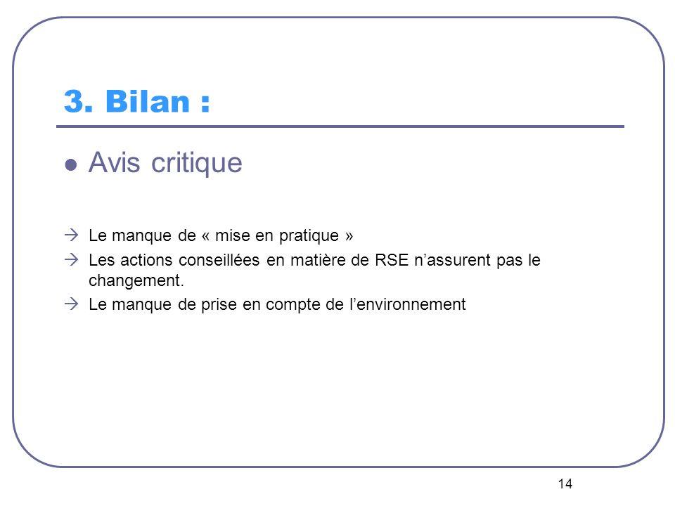 14 3. Bilan : Avis critique Le manque de « mise en pratique » Les actions conseillées en matière de RSE nassurent pas le changement. Le manque de pris