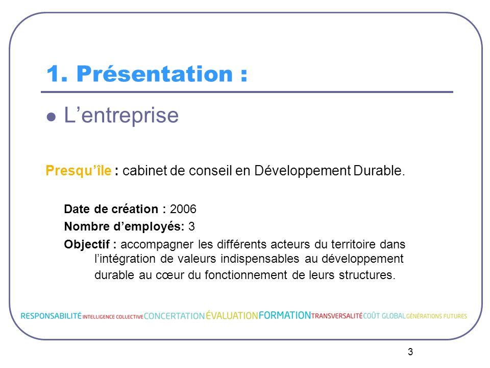 3 1. Présentation : Lentreprise Presquîle : cabinet de conseil en Développement Durable. Date de création : 2006 Nombre demployés: 3 Objectif : accomp