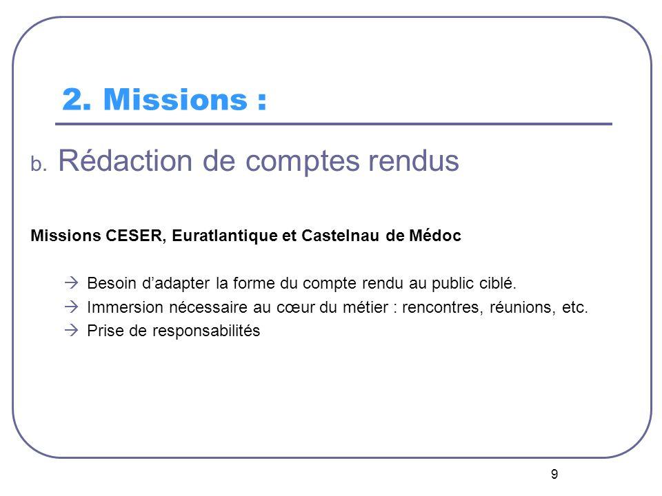 9 2. Missions : b. Rédaction de comptes rendus Missions CESER, Euratlantique et Castelnau de Médoc Besoin dadapter la forme du compte rendu au public
