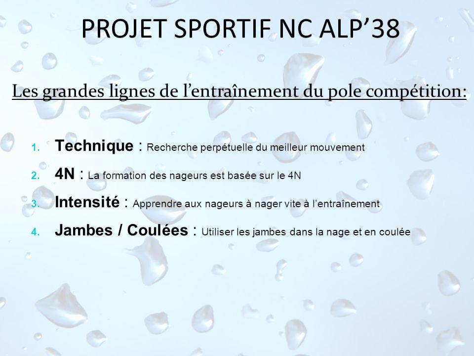 PROJET SPORTIF NC ALP38 Les grandes lignes de lentraînement du pole compétition: 1. Technique : Recherche perpétuelle du meilleur mouvement 2. 4N : La