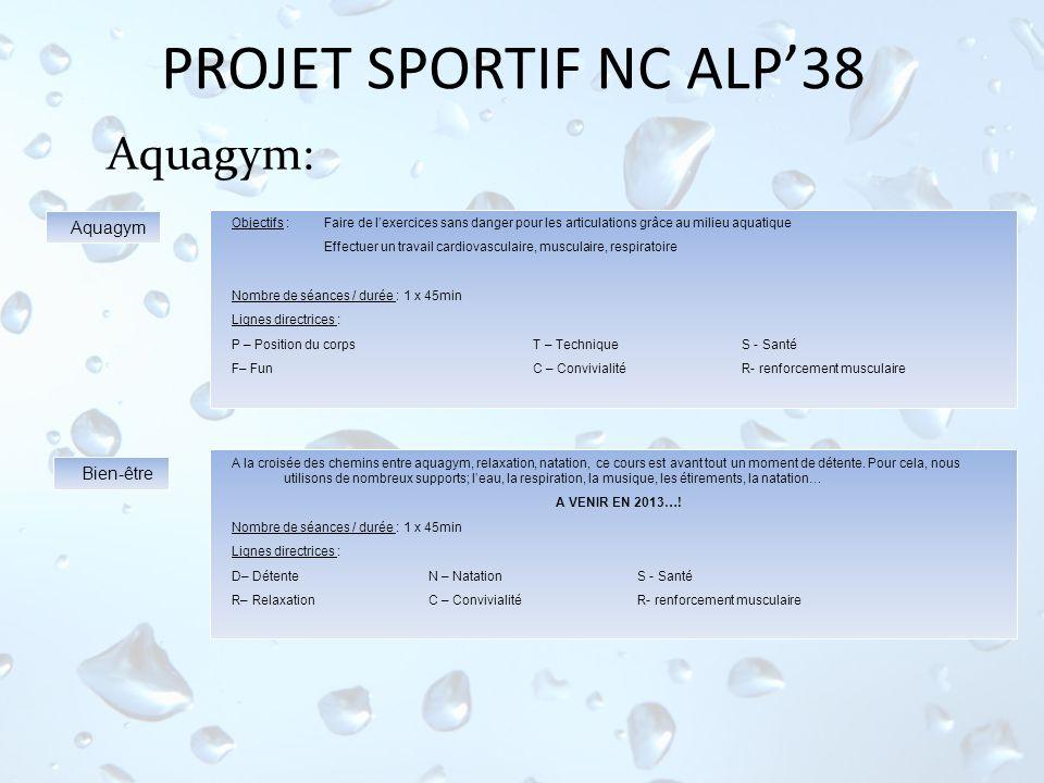 PROJET SPORTIF NC ALP38 Aquagym: Objectifs : Faire de lexercices sans danger pour les articulations grâce au milieu aquatique Effectuer un travail car