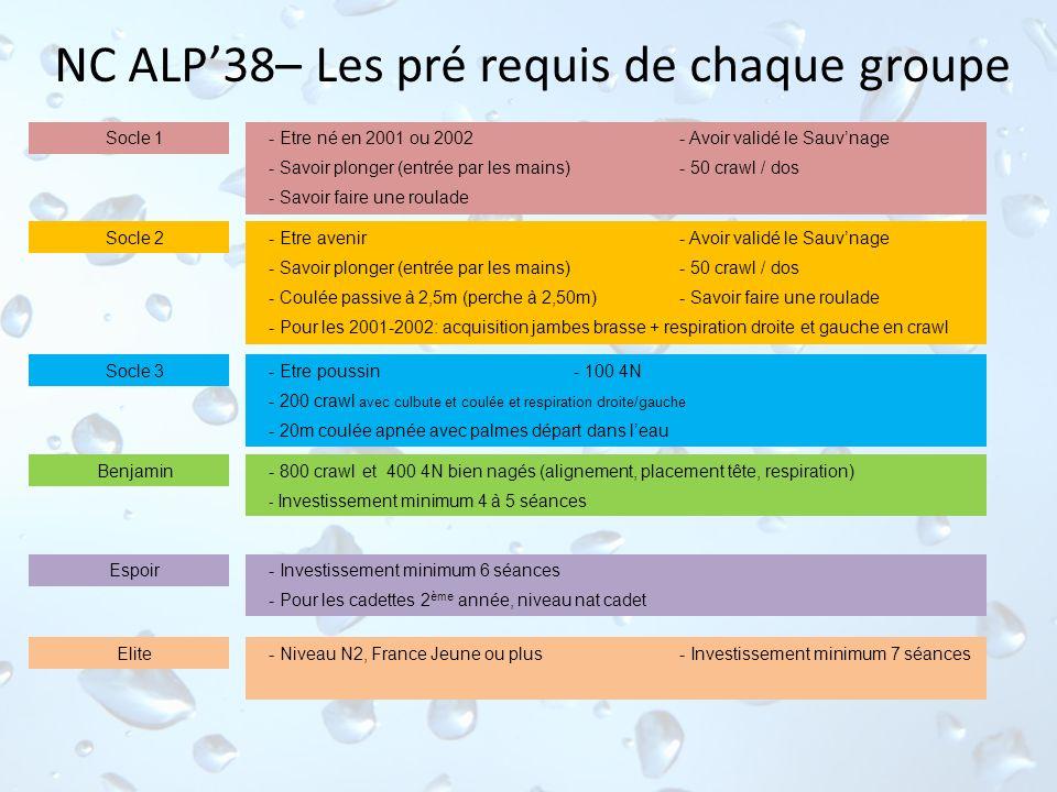 NC ALP38– Les pré requis de chaque groupe - Etre poussin- 100 4N - 200 crawl avec culbute et coulée et respiration droite/gauche - 20m coulée apnée av