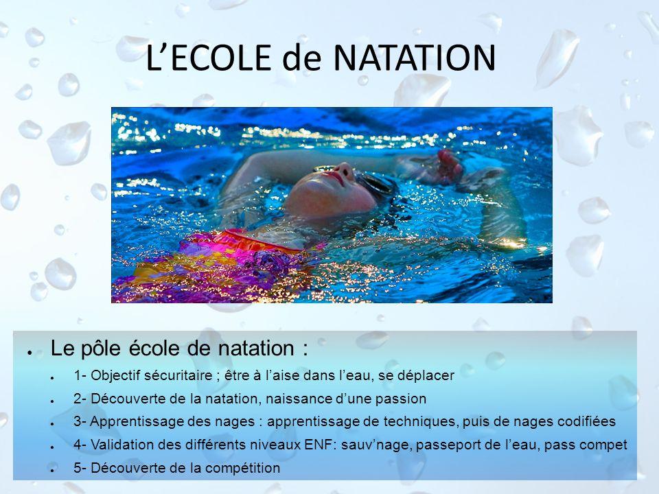 LECOLE de NATATION Le pôle école de natation : 1- Objectif sécuritaire ; être à laise dans leau, se déplacer 2- Découverte de la natation, naissance d