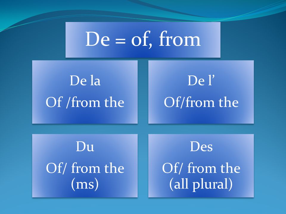 De = of, from De la Of /from the De l Of/from the Du Of/ from the (ms) Des Of/ from the (all plural)