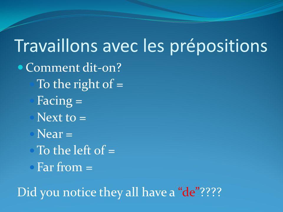 Travaillons avec les prépositions Comment dit-on.