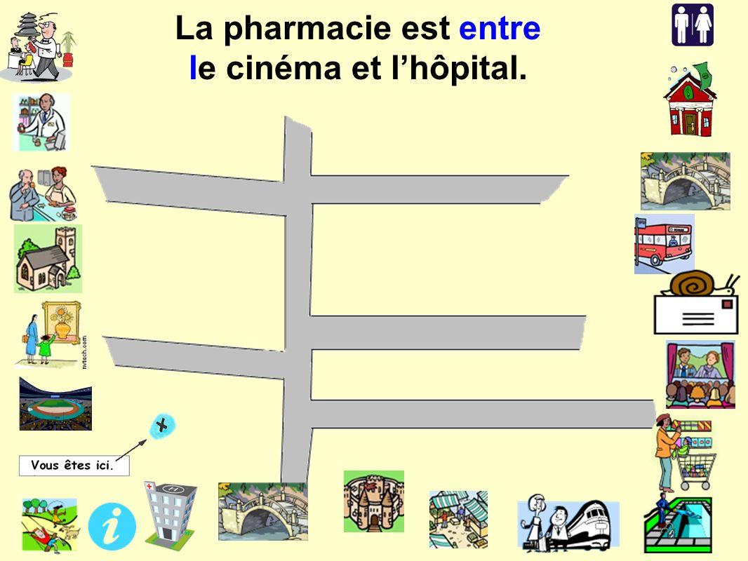La pharmacie est entre le cinéma et lhôpital.