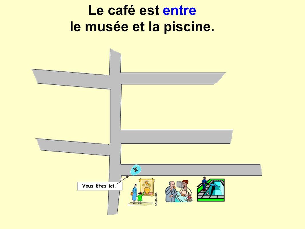 Le café est entre le musée et la piscine.
