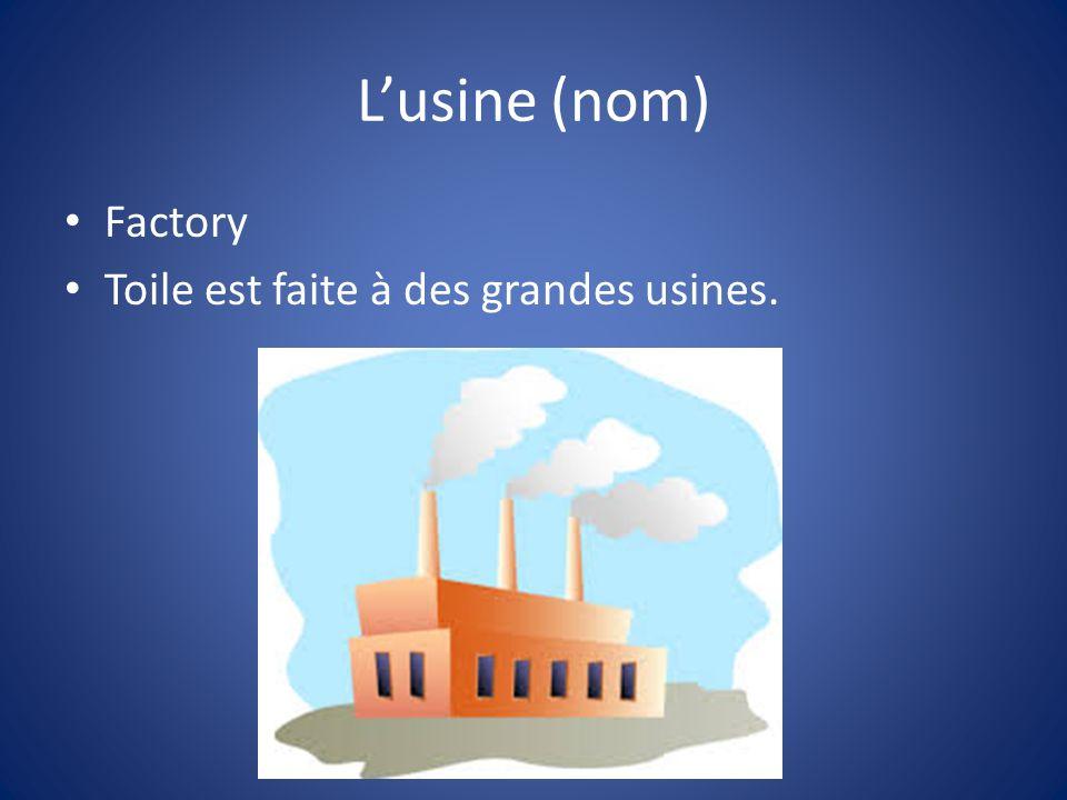 Lusine (nom) Factory Toile est faite à des grandes usines.