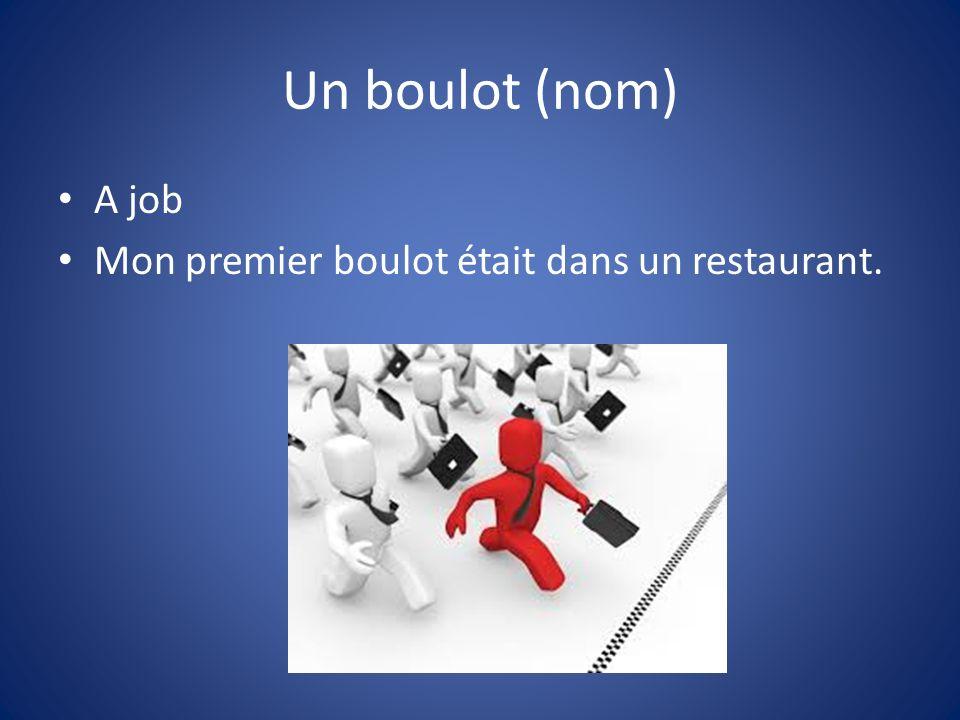 Un boulot (nom) A job Mon premier boulot était dans un restaurant.